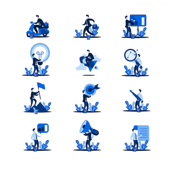 Conjunto de ilustração plana de negócios