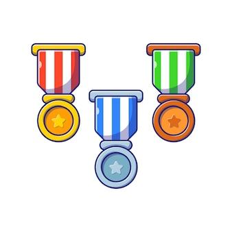 Conjunto de ilustração plana de ouro, prata e medalha de bronze isolada