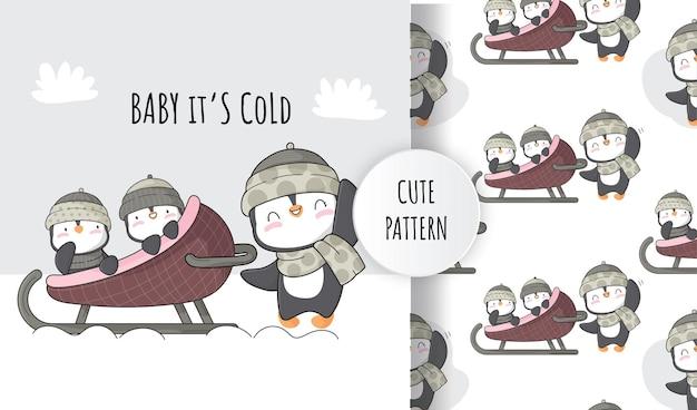 Conjunto de ilustração plana fofa família de pinguins na neve