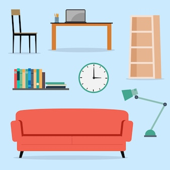 Conjunto de ilustração plana interior de móveis