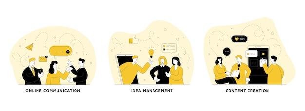 Conjunto de ilustração plana linear de comunicação de trabalho em equipe. comunicação online, gerenciamento de ideias, criação de conteúdo. marketing de mídia social. personagens de desenhos animados masculinos e femininos