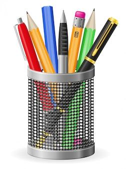 Conjunto de ilustração realista caneta e lápis vector