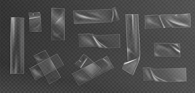 Conjunto de ilustração realista de fita transparente