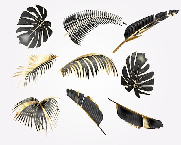 Conjunto de ilustração realista de folhas tropicais de ouro e preto, isoladas no fundo branco.