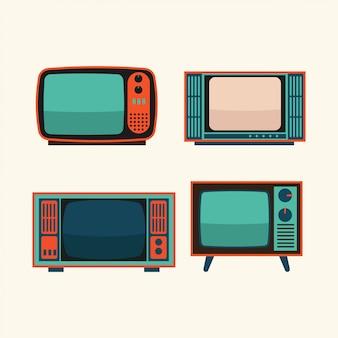 Conjunto de ilustração retrô de tv
