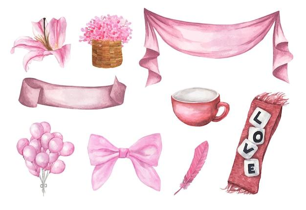 Conjunto de ilustração romântica em aquarela fofa de elementos de design para o dia dos namorados