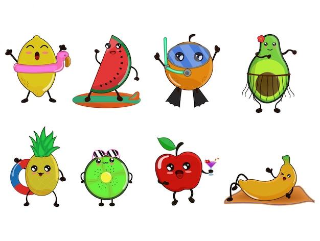 Conjunto de ilustração tropical de fruta dos desenhos animados kawai