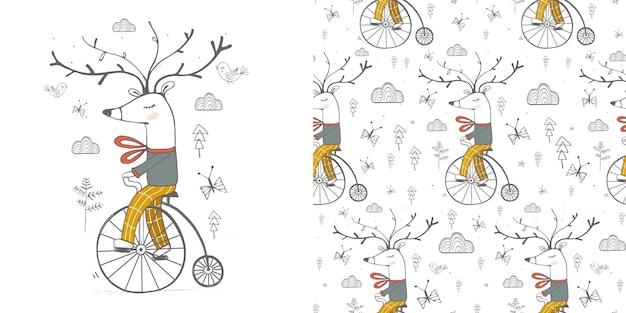 Conjunto de ilustração veado andando de bicicleta com padrão sem emenda ilustração vetorial desenhada à mão