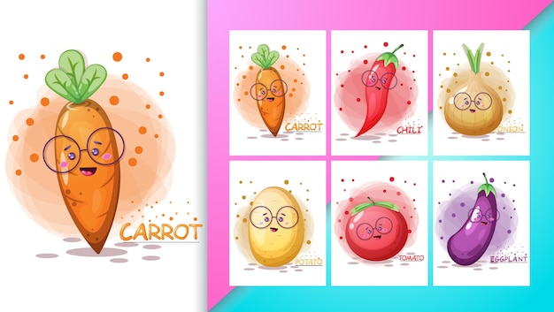 Conjunto de ilustração vegetal bonito e cartaz.