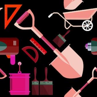Conjunto de ilustração vetorial ações ícones isolados construção de reparação de ferramentas