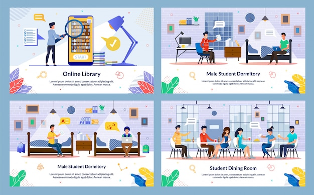 Conjunto de ilustração vetorial, biblioteca on-line, slide.