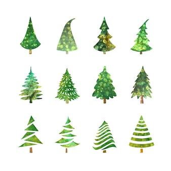 Conjunto de ilustração vetorial colorida de ícones de árvore de natal isolados no fundo branco