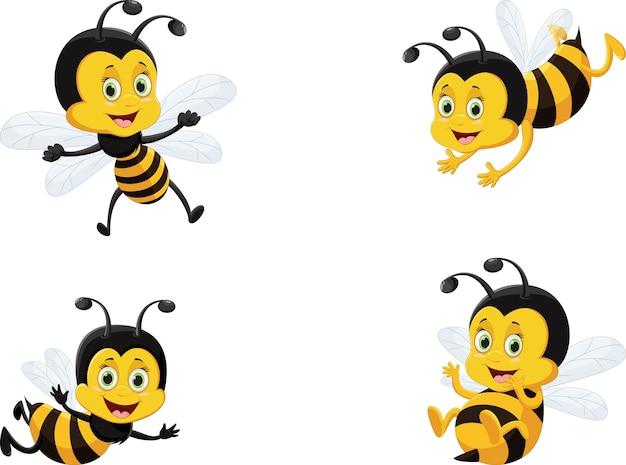 Conjunto de ilustração vetorial de abelha bonito dos desenhos animados