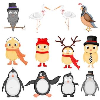 Conjunto de ilustração vetorial de animais exóticos engraçados