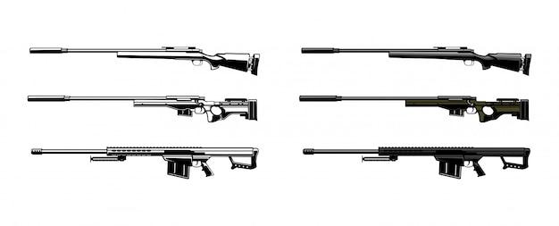 Conjunto de ilustração vetorial de atirador