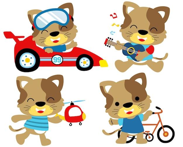 Conjunto de ilustração vetorial de atividade de gato engraçado
