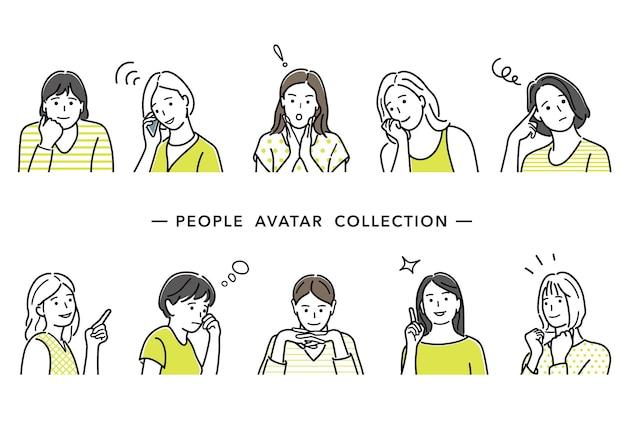 Conjunto de ilustração vetorial de avatares femininos, desenhos de linhas simples, isolados em um fundo branco