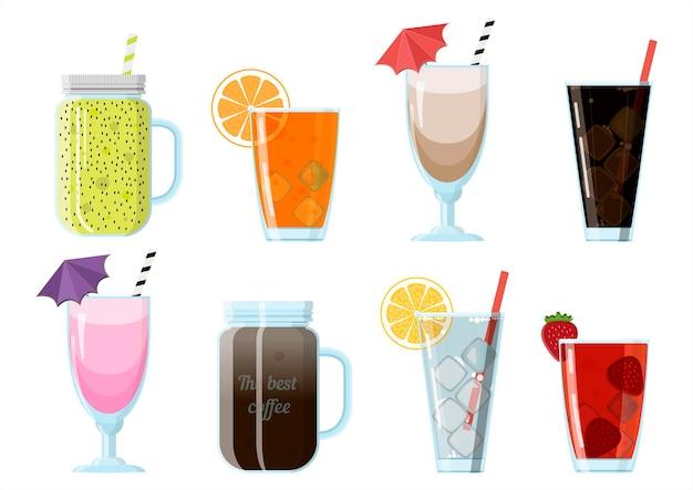 Conjunto de ilustração vetorial de bebidas não alcoólicas de alimentos de desenho animado