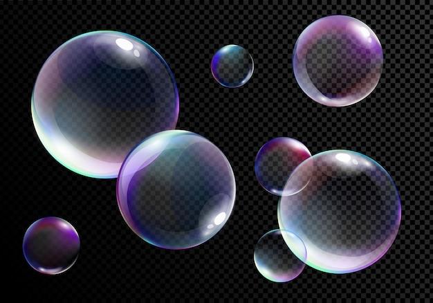 Conjunto de ilustração vetorial de bolhas de sabão brilhantes realistas com cores do arco-íris