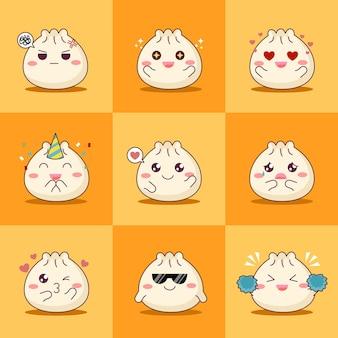 Conjunto de ilustração vetorial de bolinho fofo ou dim sum emoji com várias expressões