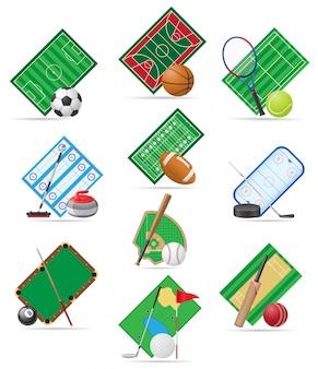 Conjunto de ilustração vetorial de campo de esporte
