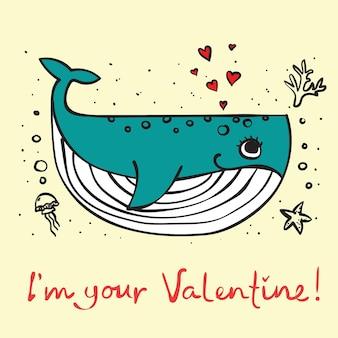 Conjunto de ilustração vetorial de cartões com bonito dos desenhos animados, pequena baleia dos namorados no amor e mão desenhada gre ...