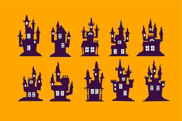 Conjunto de ilustração vetorial de casa de halloween