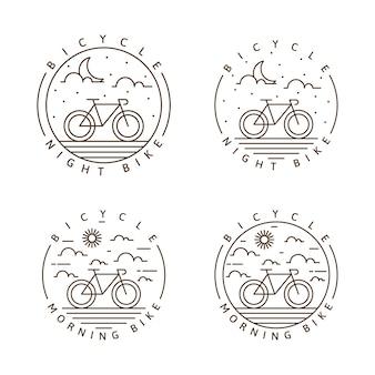 Conjunto de ilustração vetorial de ciclismo noturno e de ciclismo matinal ou estilo de linha