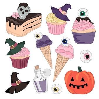 Conjunto de ilustração vetorial de cor de halloween doces de dia de halloween