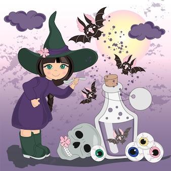 Conjunto de ilustração vetorial de cor de halloween meu halloween
