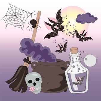 Conjunto de ilustração vetorial de cor de halloween noites de horror de halloween