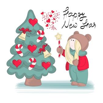 Conjunto de ilustração vetorial de cor de Natal feliz meu novo ano