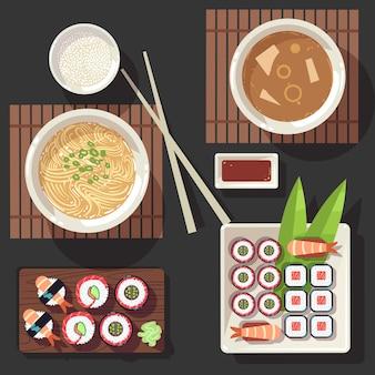 Conjunto de ilustração vetorial de cozinha japonesa