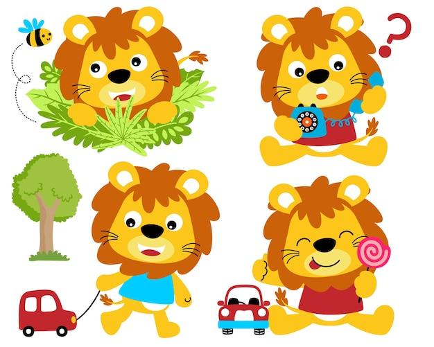 Conjunto de ilustração vetorial de desenho animado de leões bonitos