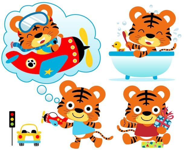 Conjunto de ilustração vetorial de desenho animado pequeno tigre