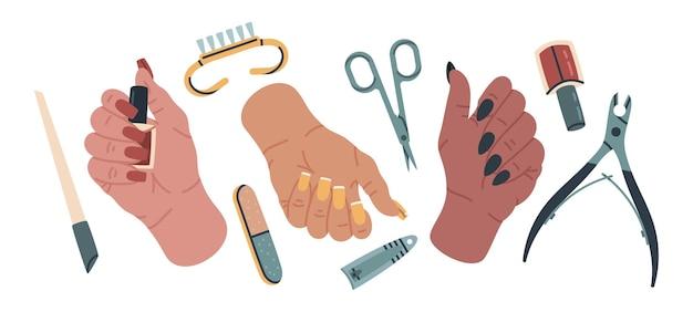 Conjunto de ilustração vetorial de desenho de mãos femininas bem cuidadas