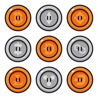 Conjunto de ilustração vetorial de desenho de moedas criptográficas