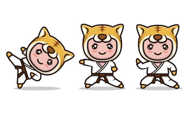 Conjunto de ilustração vetorial de desenho de tigre fofo mascote de karatê