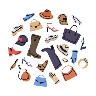 Conjunto de ilustração vetorial de desenhos animados de acessórios de guarda-roupa feminino de moda doodle