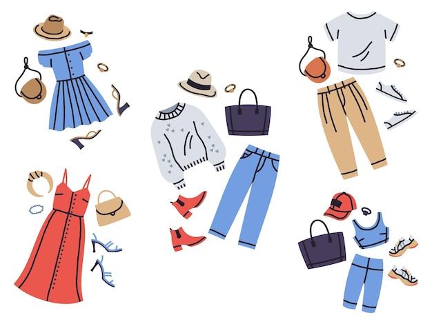 Conjunto de ilustração vetorial de desenhos animados de moda feminina guarda-roupa roupas looks da moda