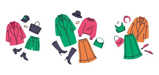 Conjunto de ilustração vetorial de desenhos animados de roupas femininas elegantes guarda-roupa
