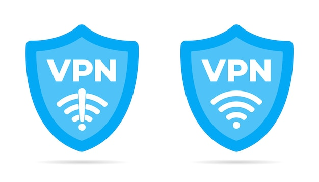 Conjunto de ilustração vetorial de design plano de escudo sem fio vpn wi-fi e nenhum ícone de vpn