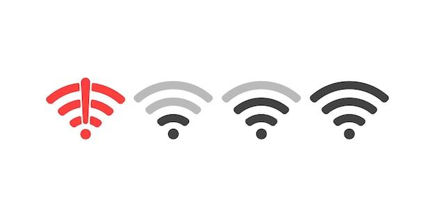 Conjunto de ilustração vetorial de design plano de sinal de ícone de wi-fi sem fio
