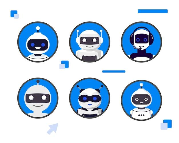 Conjunto de ilustração vetorial de diferentes cabeças de bot de bate-papo coleção de personagens ciborgues conjunto de avatares