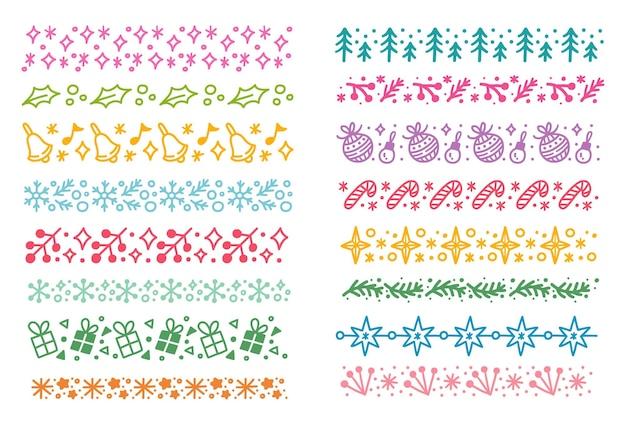 Conjunto de ilustração vetorial de doodle de escova de padrão sem emenda com tema de natal