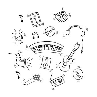 Conjunto de ilustração vetorial de doodle de música