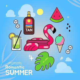 Conjunto de ilustração vetorial de elementos de verão