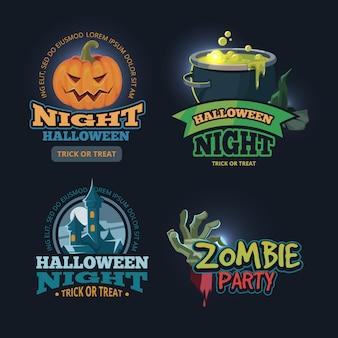 Conjunto de ilustração vetorial de emblemas de halloween