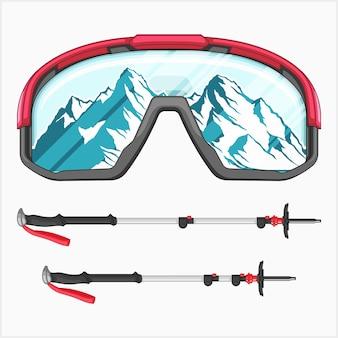 Conjunto de ilustração vetorial de equipamentos de esqui
