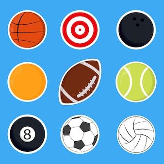 Conjunto de ilustração vetorial de esportes fofos